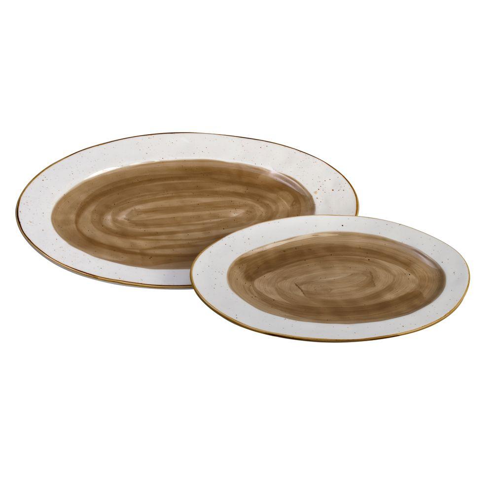 2 5435202 hfa piatela servirismatos country oval brown new bone china 325 x 205 x 23